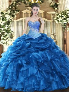 Sleeveless Floor Length Beading and Ruffles and Pick Ups Lace Up Quinceanera Dresses with Blue