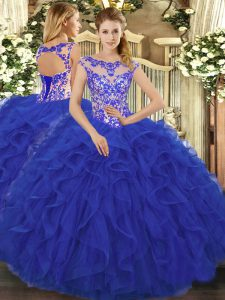 Most Popular Royal Blue Lace Up Quinceanera Dress Beading and Ruffles Sleeveless Floor Length