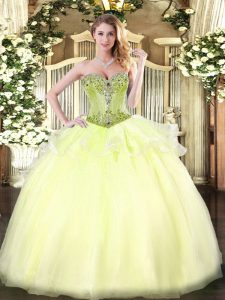 Fantastic Light Yellow Lace Up Ball Gown Prom Dress Beading Sleeveless Floor Length