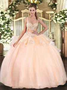 Peach Ball Gowns Straps Sleeveless Organza Floor Length Lace Up Beading Sweet 16 Quinceanera Dress