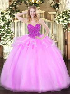 Stunning Sleeveless Beading Lace Up 15 Quinceanera Dress