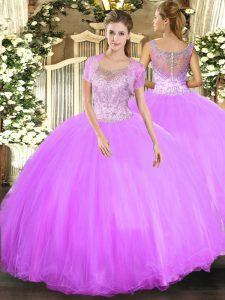Stunning Scoop Sleeveless Sweet 16 Dress Floor Length Beading Lilac Tulle