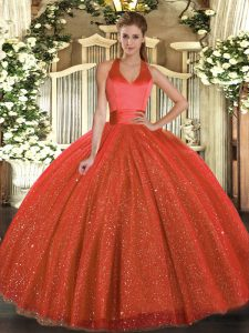 Nice Rust Red Tulle Lace Up Halter Top Sleeveless Floor Length Quinceanera Gowns Sequins