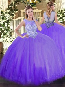 Free and Easy Ball Gowns Quinceanera Dress Lavender Scoop Tulle Sleeveless Floor Length Zipper