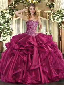 Floor Length Lace Up Quinceanera Dresses Wine Red for Military Ball and Sweet 16 and Quinceanera with Beading and Ruffles