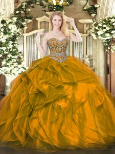 Orange Organza Lace Up Sweetheart Sleeveless Floor Length Sweet 16 Dresses Beading and Ruffles