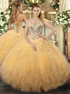 Sweetheart Sleeveless Lace Up Ball Gown Prom Dress Gold Tulle