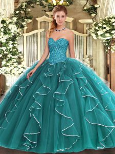 Hot Selling Ball Gowns Sweet 16 Dresses Teal Sweetheart Tulle Sleeveless Floor Length Lace Up