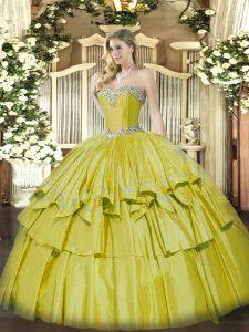 Dazzling Yellow Sleeveless Beading and Ruffled Layers Floor Length 15th Birthday Dress