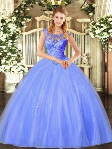 Blue Ball Gowns Tulle Scoop Sleeveless Beading Floor Length Lace Up Quinceanera Dresses