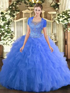 Floor Length Baby Blue Quinceanera Dresses Tulle Sleeveless Beading and Ruffled Layers
