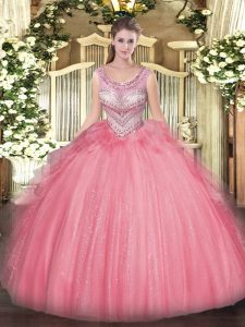 Noble Scoop Sleeveless Lace Up Quinceanera Gowns Watermelon Red Tulle