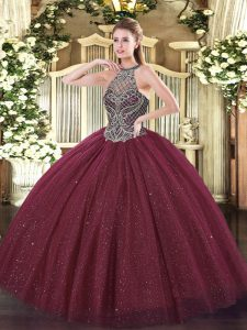 Noble Sleeveless Tulle Floor Length Lace Up Quinceanera Gown in Burgundy with Beading