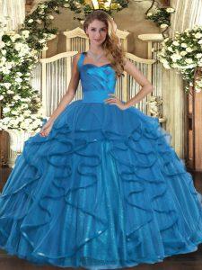 Teal Halter Top Lace Up Ruffles Vestidos de Quinceanera Sleeveless