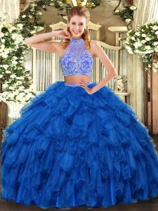 Royal Blue Halter Top Criss Cross Beading and Ruffles Quinceanera Gown Sleeveless