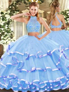 Aqua Blue Two Pieces Halter Top Sleeveless Tulle Floor Length Criss Cross Beading and Ruffled Layers Quince Ball Gowns