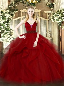 Glorious Straps Sleeveless Tulle Sweet 16 Quinceanera Dress Beading and Ruffled Layers Zipper