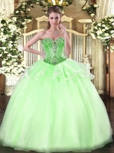 Custom Design Floor Length Ball Gowns Sleeveless Apple Green Quinceanera Gowns Lace Up