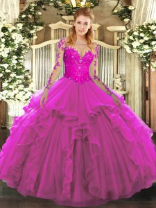 Super Tulle Long Sleeves Floor Length Quinceanera Dresses and Lace and Ruffles