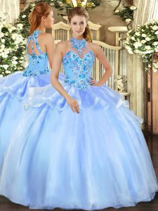 Baby Blue Sleeveless Organza Lace Up 15th Birthday Dress for Military Ball and Sweet 16 and Quinceanera