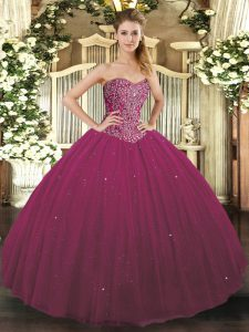 Classical Fuchsia Sweetheart Lace Up Beading Quinceanera Dresses Sleeveless
