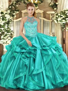 Classical Turquoise Quinceanera Gowns Military Ball and Sweet 16 and Quinceanera with Beading and Embroidery and Ruffles Halter Top Sleeveless Lace Up