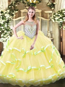 Exceptional Yellow Green and Light Yellow Scoop Zipper Beading and Ruffled Layers Sweet 16 Dresses Sleeveless