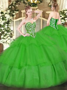 Gorgeous Green Tulle Lace Up Quinceanera Gowns Sleeveless Floor Length Beading and Ruffled Layers