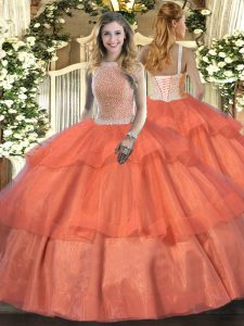 Classical High-neck Sleeveless Lace Up Quinceanera Dresses Orange Red Tulle