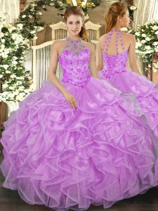 High Quality Lilac Sleeveless Beading and Ruffles Floor Length Quinceanera Gowns