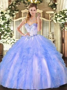Gorgeous Blue And White Ball Gowns Tulle Sweetheart Sleeveless Beading and Ruffles Floor Length Lace Up Quinceanera Gowns