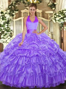 Lavender Halter Top Neckline Ruffled Layers and Pick Ups Quinceanera Dresses Sleeveless Lace Up