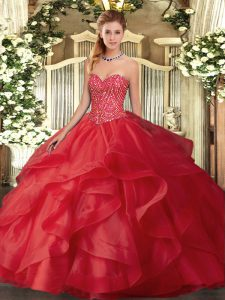 Perfect Beading and Ruffles Quinceanera Gowns Red Lace Up Sleeveless Floor Length