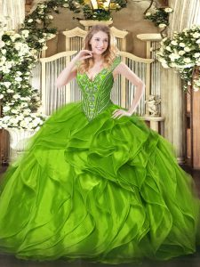 Clearance Ball Gowns Quinceanera Dress V-neck Organza Sleeveless Floor Length Lace Up