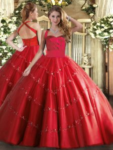 Floor Length Red Quinceanera Gown Halter Top Sleeveless Lace Up