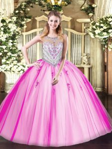 Lilac Zipper Scoop Beading and Appliques Quinceanera Dress Tulle Sleeveless
