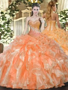 Orange Red Organza Lace Up Sweetheart Sleeveless Floor Length Ball Gown Prom Dress Beading and Ruffles