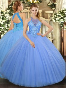 Light Blue Lace Up High-neck Beading Sweet 16 Dress Tulle Sleeveless
