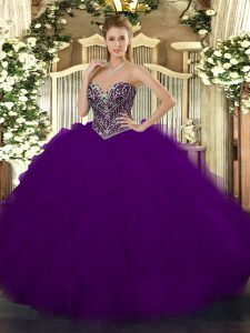 Beading and Ruffles 15th Birthday Dress Dark Purple Lace Up Sleeveless Floor Length