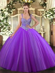 Floor Length Purple Quince Ball Gowns V-neck Sleeveless Lace Up