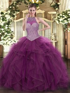 Burgundy Halter Top Lace Up Beading Quinceanera Dresses Sleeveless