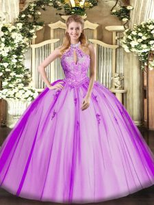 Glorious Fuchsia Tulle Lace Up Halter Top Sleeveless Floor Length Sweet 16 Quinceanera Dress Lace and Appliques
