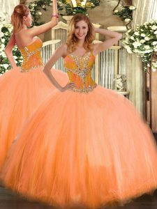 Extravagant Tulle Sleeveless Floor Length Sweet 16 Quinceanera Dress and Beading