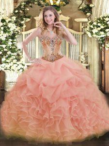 Luxury Sweetheart Sleeveless Sweet 16 Dresses Floor Length Beading and Ruffles and Pick Ups Peach Organza