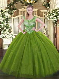 Glorious Olive Green Sweet 16 Dresses Sweet 16 and Quinceanera with Beading Scoop Sleeveless Lace Up