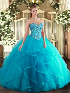 Tulle and Printed Sweetheart Sleeveless Lace Up Embroidery and Ruffles Quinceanera Gowns in Aqua Blue