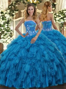 Baby Blue Sleeveless Floor Length Beading and Ruffles Lace Up 15 Quinceanera Dress