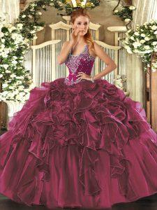 Enchanting Floor Length Burgundy Sweet 16 Quinceanera Dress Organza Sleeveless Beading and Ruffles