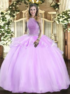 High-neck Sleeveless Organza Quinceanera Dresses Beading Lace Up
