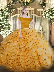 Top Selling Orange Two Pieces Tulle Off The Shoulder Short Sleeves Appliques and Ruffled Layers Zipper Quinceanera Dress Brush Train